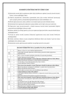 2. Dönem Koordinatörlük Çalışma Planı
