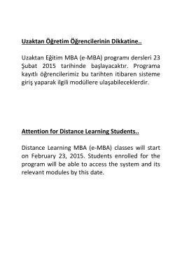 Uzaktan Öğretim Öğrencilerinin Dikkatine.. Uzaktan Eğitim