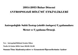 (stable isotopes) Uygulamaları