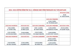 2014 -2015 eğitim öğretim yılı 2. dönem sınıf öğretmenleri veli