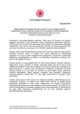 Dışişleri Komisyonu tarafından Hocalı Katliamı ile ilgili bildiri