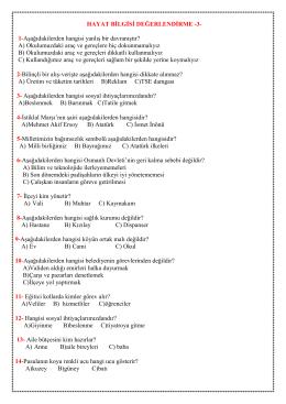 HAYAT BİLGİSİ DEĞERLENDİRME -3- 1