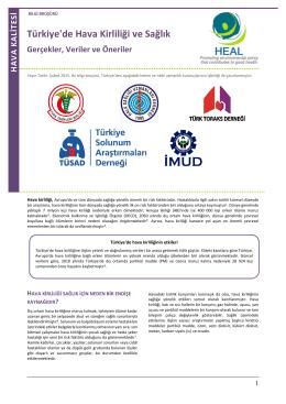 Türkiye`de Hava Kirliliği ve Sağlık