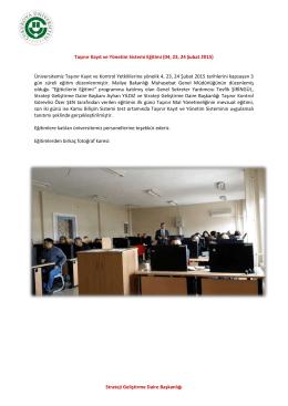 Taşınır Kayıt ve Yönetim Sistemi Eğitimi (04, 23, 24 Şubat 2015