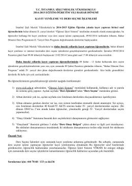2015 Bahar Yarıyılı Başlangıç ve Ders Seçme İşlemleri 03/02/2015