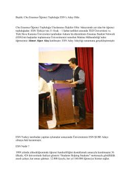 Başlık: Cbu Erasmus Öğrenci Topluluğu ESN`e Aday Oldu Cbu