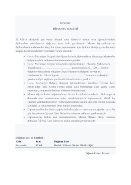 Mezuniyet Diplomaları Hakkında Duyuru 24/02/2015