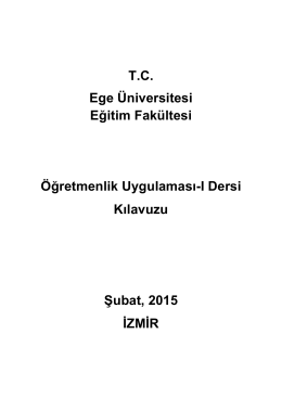 Ege Üniversitesi Eğitim Fakültesi Öğretmenlik Uygulaması
