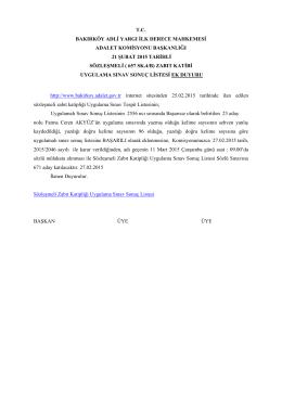 sözleşmeli zabıt katipliği uygulama sınav sonuç ek ilanı 27.02.2015