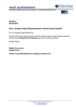 2015-011 Damga Vergisi Beyannamesinin Verilme Süresi Uzatıldı!