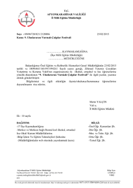Müdürlüğümüzün konu ile ilgili 25/02/2015 tarih ve 2128086 sayılı