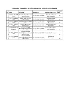 Eğitim Proğramı için tıklayınız - Şanlıurfa Halk Sağlığı Müdürlüğü