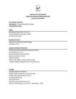 İlan Yayını: 26 Şubat 2015 - Kariyer Planlama Koordinatörlüğü