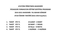 Pedagoji Ödeme Takvimi (Ekim 2014 Kayıtları)
