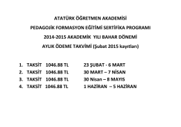 Pedagoji Ödeme Takvimi (Şubat 2015 Kayıtları)