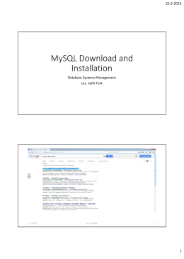 MySQL and Installation