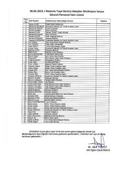 28.02.2015/ Motorlu Taşıt Sürücü Adayları Direksiyon Sınavı
