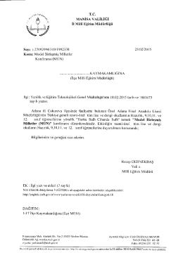 İl Milli Eğitim Müdürlüğü´nün 23/02/2015 tarih 1992338 sayılı Model
