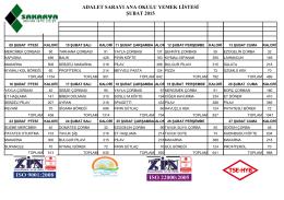 adalet sarayı ana okulu yemek listesi şubat 2015
