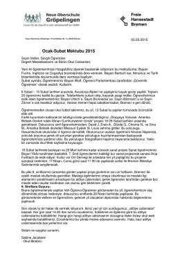 Freie Hansestadt Bremen Ocak-Subat Mektubu 2015