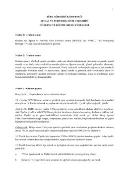 Yönerge - Türk Nöroşirurji Derneği Spinal ve Periferik Sinir Cerrahisi
