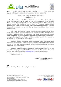 TÜRKİYE POLONYA İŞ FORUMU 26 MART 2015 İSTANBUL
