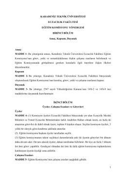 Eğitim Komisyonu Yönergesi - Karadeniz Teknik Üniversitesi
