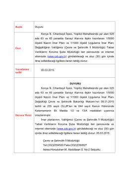 kaymakamlık makamına - Çevre ve Şehircilik Bakanlığı