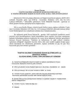 2014 yılı genel kurul toplantısına davet