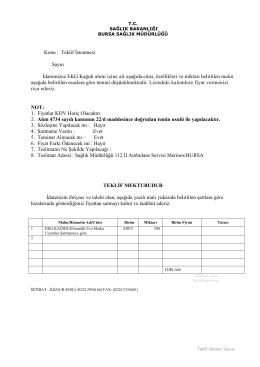 Teklif Mektubu - Bursa İl Sağlık Müdürlüğü