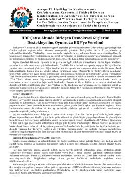 HDP Çatısı Altında Birleşen Demokrasi Güçlerini