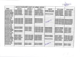 Çocuk Polikliniği 2015 MartAyı Doktor Nöbet Listesi