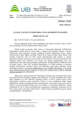 RUSYA FEDERASYONU`NA TARIM ÜRÜNLERİ İHRACATI HK.