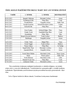Mart 2015 Ayı Yemek Listesi