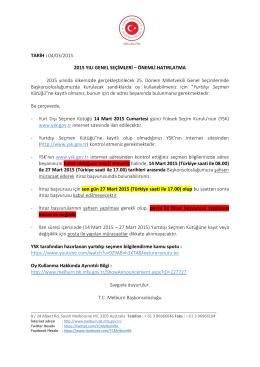 Duyuru 4 Seçimler - Melburn Başkonsolosluğu