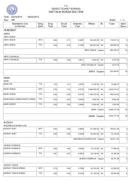 6 Mart Haftalık Bülten - Denizli Ticaret Borsası