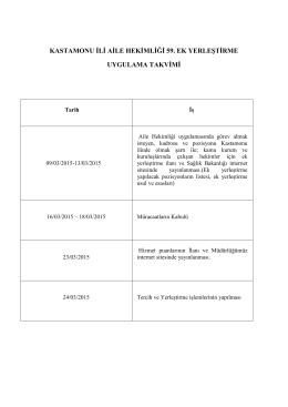 KASTAMONU İLİ AİLE HEKİMLİĞİ 59. EK YERLEŞTİRME