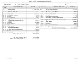 Bütçe Uygulama Sonuçları Tablosu