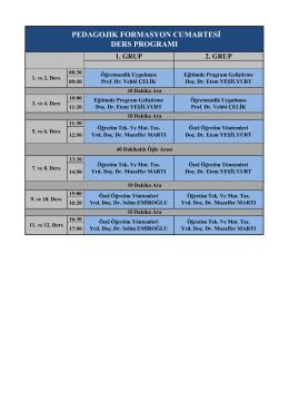 pedagojık formasyon cumartesi ders programı