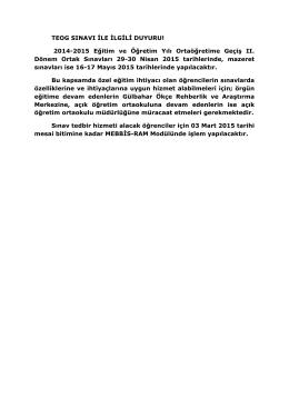 TEOG SINAVI İLE İLGİLİ DUYURU! 2014