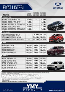 fiyat listesi - YMY Otomotiv
