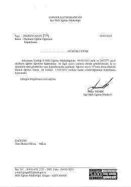 Okulların Eğitim Öğretime Kapatılması 05.03.2015 10:50