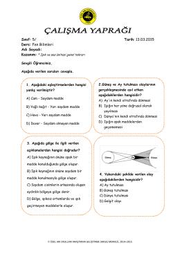 Sınıf: 5/ Tarih: 27.03.2015 Ders: Fen Bilimleri Adı Soyadı: