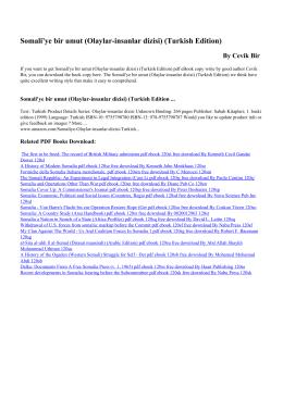 Somali`ye bir umut (Olaylar-insanlar dizisi) (Turkish Edition) pdf