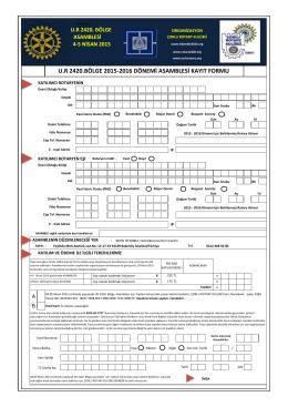 Kayıt Formu - Rotary 2420. Bölge