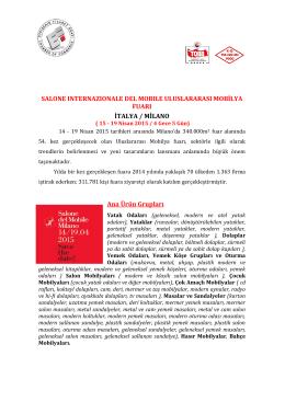 SALONE INTERNAZIONALE DEL MOBILE ULUSLARARASI