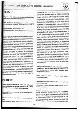 ULUSAL TIBBiBiYGLOJiVE GENETIK KONGRESi »S-10 11 PS