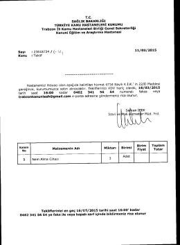 KDV hariç olarak, 16/03/2015 - Trabzon Kanuni Eğitim ve Araştırma