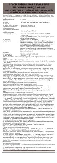 14 Mart 2015 BİYOMEDİKAL SARF MALZEME VE YEDEK PARÇA