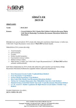SİRKÜLER 2015/10 - Sena Yeminli Mali Müşavirlik Limited Şirketi
